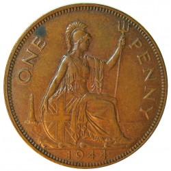Gran Bretaña 1 Penny. 1944. AE. 9,47gr. Ø30,5mm. EBC+. (Pqña.manchita rev.). KM. 845