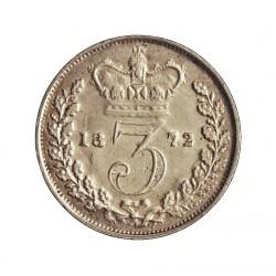 Gran Bretaña 3 Pence. 1872. AG. 1,414gr. Ley:0,925. Ø16mm. MBC/MBC+. KM. 730
