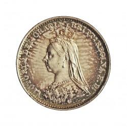 Gran Bretaña 3 Pence. 1889. Londres. AG. 1,414gr. Ley:0,925. Ø16mm. SC-/SC. KM. 758