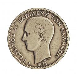 Grecia 1 DRACMA. 1874. A. AG. 5gr. Ley:0,835. Ø23mm. MBC-/MBC. KM. 38