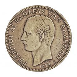 Grecia 5 DRACMA. 1875. A-(Paris). AG. 25gr. Ley:0,900. Ø37mm. MBC-/MBC. ESCASO/A. KM. 46