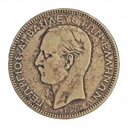 Grecia 5 DRACMA. 1876. A-(Paris). AG. 25gr. Ley:0,900. Ø37mm. MBC-/MBC. ESCASO/A. KM. 46