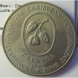 Grenada 4 Dolar. 1970. NI. 28,11gr. (Desarrollo del Caribe). (Lucha contra el hambre-FAO). Ø38mm. SC. RARO/A. Una de la tres un