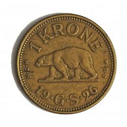 Groenlandia 1 Kroner. 1926. (h)-Heart. HCN GJ. AL/AE. 7,3gr. (Moneda que circuló como colonia de Dinamarca). Ø27mm. SC-/SC. MU