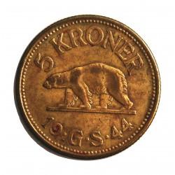 Groenlandia 5 Kroner. 1944. BRASS. 13,5gr. (Moneda que circuló como colonia de Dinamarca). Ø30,5mm. MBC/MBC+. MUY RARO/A. KM. 9