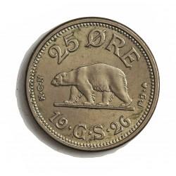 Groenlandia 25 Ore. 1926. (h)-Heart. HCN GJ. CUNI. 7gr. Ø25mm. SC-/SC. RARO/A. en esta conservacion. KM. 5