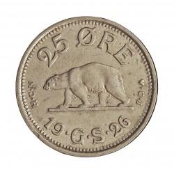 Groenlandia 25 Ore. 1926. (h)-Heart. HCN GJ. CUNI. 7gr. (Moneda que circulo como colonia de Dinamarca). Ø25mm. MBC. RARO/A. en