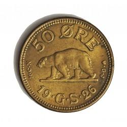 Groenlandia 50 Ore. 1926. (h)-Heart. HCN GJ. AL/AE. 3,8gr. Ø21mm. SC-/SC. RARO/A. en esta conservacion. KM. 7