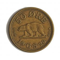 Groenlandia 50 Ore. 1926. (h)-Heart. HCN GJ. AL/AE. 3,8gr. (Moneda que circuló como colonia de Dinamarca). Ø21mm. MBC+. RARO/A