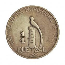 Guatemala ¼ Quetzal. 1925. P-(Filadelfia). AG. 8,333gr. Ley:0,720. Ø27mm. MBC/MBC+. RARO/A. KM. 240.2