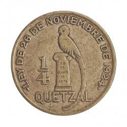 Guatemala ¼ Quetzal. 1926. (L)-Londres. AG. 8,333gr. Ley:0,720. Ø27mm. MBC-. KM. 243.1