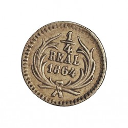 Guatemala ¼ Reales. 1864. AG. 0,76gr. Ley:0,903. Ø11mm. EBC/EBC+. KM. 130