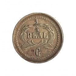 Guatemala ¼ Reales. 1878. (G. grande). AG. 0,77gr. Ley:0,835. Ø11mm. EBC-/EBC. KM. 146a.3