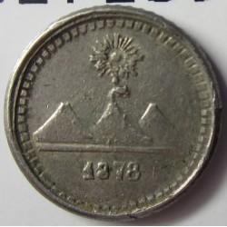 Guatemala ¼ Reales. 1878. AG. 0,77gr. Ley:0,835. Ø11mm. MBC+/EBC-. KM. 146a.2