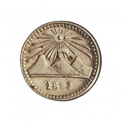 Guatemala ¼ Reales. 1883. (el 83 empastado). AG. 0,77gr. Ley:0,835. Ø11mm. SC-/SC. (Tono original). KM. 151