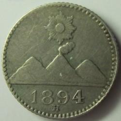 Guatemala ¼ Reales. 1894. H. AG. 0,77gr. Ley:0,835. Ø11mm. EBC. KM. 162