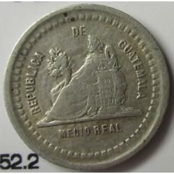 Guatemala ½ Reales. 1889. /779. AG. 1,5gr. Ley:0,835. Ø15mm. EBC-. KM. 152.2