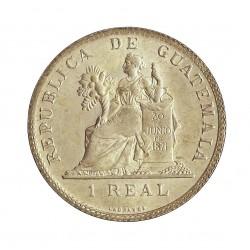 Guatemala 1  Reales. 1899. AG. 3,21gr. Ley:0,500. Ø20mm. EBC/EBC+. (Tono original). KM. 174