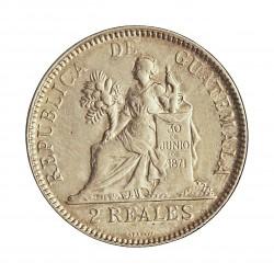 Guatemala 2  Reales. 1895. AG. 6,2gr. Ley:0,835. Ø24mm. EBC+/SC-. KM. 167