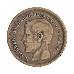 Guatemala 25  Cts.  1870. R.  AG. 6,25gr. Ley:0,900. (Carreras). Ø24mm. MBC-. KM. 189