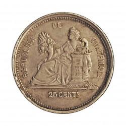Guatemala 25 Cts. 1881. E. AG. 6,25gr. Ley:0,835. Ø24mm. MBC+/EBC-. KM. 205.1