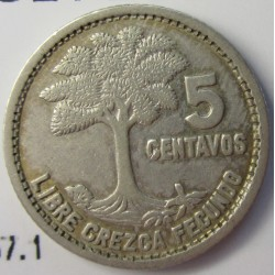 Guatemala 5 Ctvo. 1952. AG. 1,667gr. Ley:0,720. Ø16mm. MBC+. KM. 257.1
