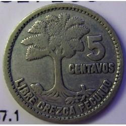 Guatemala 5 Ctvo. 1953. AG. 1,667gr. Ley:0,720. Ø16mm. MBC. KM. 257.1