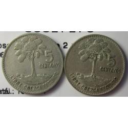 Guatemala 5 Ctvo. 1960. 1961. AG. 3,333gr. Ley:0,720. (Lote de 2 monedas: 1960 y 61. Ø16mm. MBC/MBC+. KM. 261