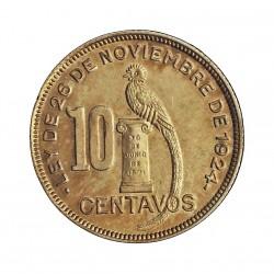 Guatemala 10 Ctvo. 1928. (L)-Londres. AG. 3,333gr. Ley:0,772. Ø20mm. SC/SC-. (Patina). KM. 239.2