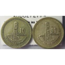 Guatemala 10 Ctvo. 1950. 1955. AG. 6,666gr. Ley:0,720. (Lote de las 2 monedas: 1950 y 55. Ø20mm. MBC+. KM. 256.1