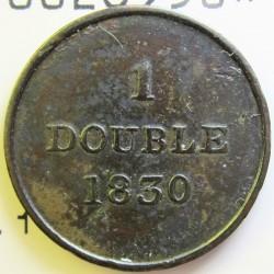 Guernsey 1 Doubles. 1830. CU. 2,3gr. Ø18,5mm. MBC-. (Patia). KM. 1