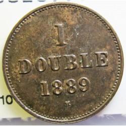 Guernsey 1 Doubles. 1889. H-(Heaton). AE. 2,2gr. Ø18,5mm. SC-. (Patina). KM. 10
