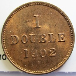 Guernsey 1 Doubles. 1902. H-(Heaton). AE. 2,24gr. Ø18,5mm. SC-/SC. (Parte de su tono original). KM. 10