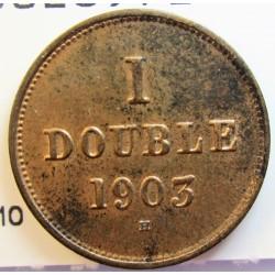 Guernsey 1 Doubles. 1903. H-(Heaton). AE. 2,24gr. Ø18,5mm. SC-. (Parte de su tono original). KM. 10