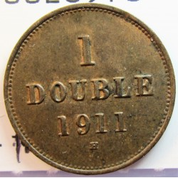 Guernsey 1 Doubles. 1911. H-(Heaton). AE. 2,24gr. Ø18,5mm. EBC+/SC-. (Patina). KM. 11