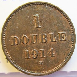 Guernsey 1 Doubles. 1914. H-(Heaton). AE. 2,24gr. Ø18,5mm. EBC+/SC-. (Patina). KM. 11