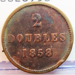 Guernsey 2 Doubles. 1858. CU. 4,2gr. Ø22,5mm. BC+/MBC-. RARO/A. KM. 4