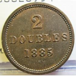 Guernsey 2 Doubles. 1885. H-(Heaton). CU. 3,65gr. Ø22,5mm. EBC+. (Patina). KM. 9