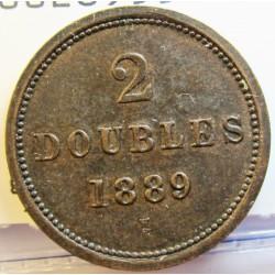 Guernsey 2 Doubles. 1889. H-(Heaton). CU. 3,65gr. Ø22,5mm. EBC+. (Patina). KM. 9