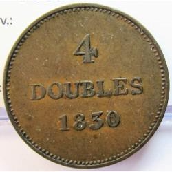 Guernsey 4 Doubles. 1830. CU. 9,8gr. Ø29mm. MBC+. (Patina). KM. 2