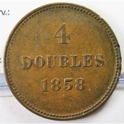 Guernsey 4 Doubles. 1858. CU. 8,7gr. Ø29mm. MBC+. (Gpcto.listel.Patina). KM. 2