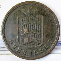 Guernsey 4 Doubles. 1864. AE. 5,1gr. Ø26mm. BC+/MBC-. (Patina). KM. 5