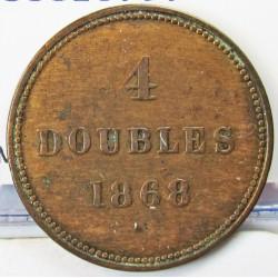 Guernsey 4 Doubles. 1868. AE. 5,1gr. Ø26mm. MBC-/MBC. (Patina). KM. 5