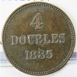 Guernsey 4 Doubles. 1885. H-(Heaton). AE. 4,5gr. Ø26mm. MBC. (Patina). MUY ESCASO/A. KM. 5