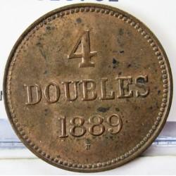 Guernsey 4 Doubles. 1889. H-(Heaton). AE. 5gr. Ø26mm. SC-. (Nueva con lev.manchitas). ESCASO/A. asi. KM. 5