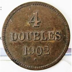 Guernsey 4 Doubles. 1902. AE. 4,9gr. Ø26mm. MBC. (Patina). KM. 5