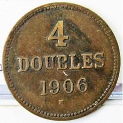 Guernsey 4 Doubles. 1906. AE. 4,9gr. Ø26mm. MBC. (Patina). KM. 5