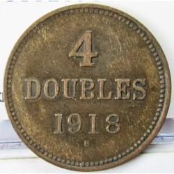 Guernsey 4 Doubles. 1918. AE. 4,76gr. Ø26mm. MBC. (Patina). KM. 13