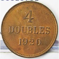 Guernsey 4 Doubles. 1920. AE. 4,76gr. Ø26mm. SC. (Casi todo su tono original). ESCASO/A. asi. KM. 13