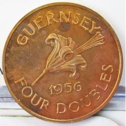 Guernsey 4 Doubles. 1956. AE. 4,82gr. Ø25mm. PRF. (Muy lev.tono). KM. 15